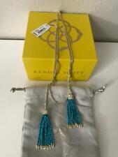 Kendra Scott Monique Lariat Tassel Necklace 14k Gold TURQUOISE New Dust Bag