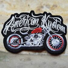 Ecusson Patch brodé thermocollant American Kustom, Harley, Trike, Biker USA