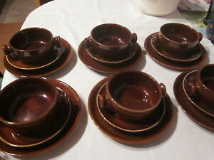 6 Stück Keramik Suppentassen mit Untertassen und Teller in braun, DDR ?