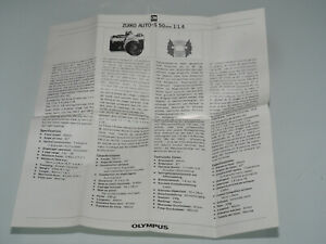 Olympus OM Beipackzettel für 1,4 50mm Objektiv