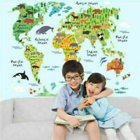Kids Animal Map Of The World Educational Wall Sticker Decor Room F Decal K6 Q9T9