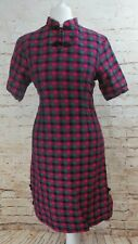 VINTAGE BRIGHT PINK GREEN CHECK  CHEONGSAM SIZE 8-10