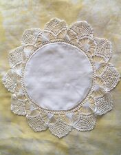 "Lovely Vintage Round White Doily with Crocheted Edges 14"" Linen / Cotton Crochet"