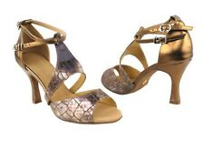 Women's Silver Gold Salsa Ballroom Dance Shoes Heel 2.5 and 3 Very Fine SERA7004