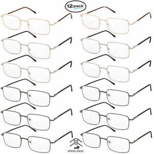 Reading Glasses Mens Womens 12 Pack Spring Hinge Square Metal Frame Wholesale