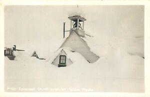 VALDEZ ALASKA EPISCOPAL CHURCH IN WINTER VINTAGE REAL PHOTO POSTCARD