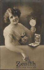 Beautiful Woman Adv Zenith Pocket Watches Grand Prix Paris 1900 RPPC dcn