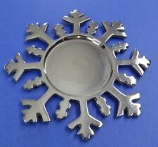 """ALUMINUM SNOWFLAKE PILLAR CANDLE PLATE~Christmas Holder~For 3.5"""" Diameter Candle"""