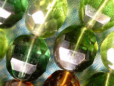 Vtg 50 GREEN BROWN 2 WAY COLOR FACETED 10 mm SPACER BEADS #101212e