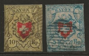 SWITZERLAND 1850 'RAYON' early classic compl.set of 2 fine used Mi#7-8 cat £600+