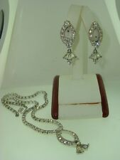BEAUTIFUL VINTAGE 1960'S SARAH COVENTRY SPARKLING RHINESTONE NECKLACE & EARRINGS