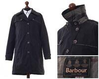 Women's BARBOUR Cupar Trench Coat Jacket Winter Tartan Black Size UK 16 US 12