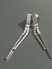 Vintage Pendientes con Pasador espaldas Colgante Metal Base claro como el cristal