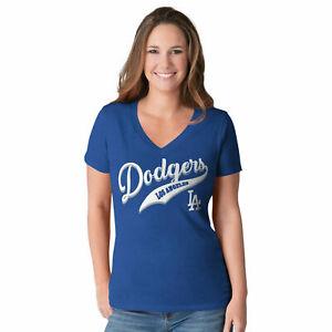 G-III 4her Los Angeles Dodgers Women's Play Maker V-Neck T-Shirt - Blue