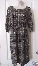 Perceptions Knit Pleated-Front Black/Black Print  Dress Women's Sz S NWT MSRP$60