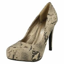 Spot On F9R745 Ladies Taupe Snake Print Court Shoe UK3-7 (R2A)
