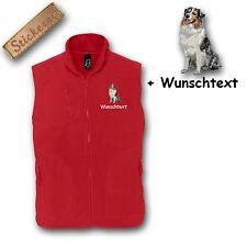 Fleece Weste bestickt Stickerei Hund Australian Shepherd + Name