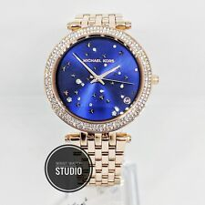 New Michael Kors MK3728 Rose Gold Darci Blue Face Ladies Watch 2 YEAR WARRANTY