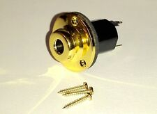Genuine Brass GOLD Active 1/4'' Stereo Endpin Barrel Jack for Acoustic Guitar