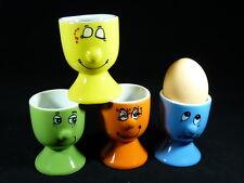4 er Set Eierbecher aus Keramik mit Gesichtern Bunt Eierhalter Eier Becher