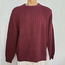 LL Bean Large Sweater Men's Crew Neck Maroon Red L/S Pullover Lambswool