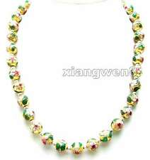 """Sale Big 12mm Round Gold Cloisonne with Tibetan Silver Beads 20"""" necklace-ne6065"""