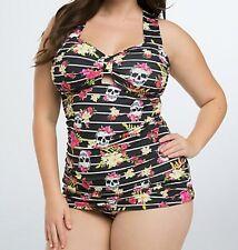 Torrid Tropical Skull Tankini Swimwear Swim Top Black Floral  0X Large 12 #48981