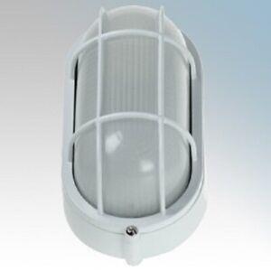 Click Ovia OL410 White  60Watt ES Oval Bulkhead Light with Wire Guard