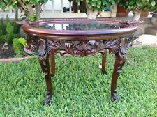 Vintage Wooden Oblong Table  With Carved Design With  Glass Top