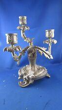 ancien flambeau bougeoir de table 19e metal argenté de style louis XV rocaille