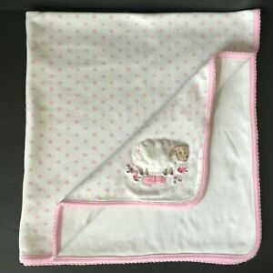 Carters White ADORABLE Lamb Sheep Baby Blanket Pink Polka Dots Security Lovey