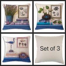 Blue Beach Cotton Linen Cushion Covers Set Of 3