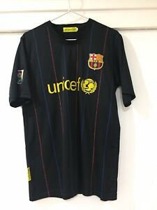 Barcelona FC Mens Black Away Jersey T Shirt Size S Good Condition