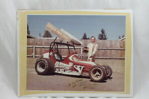 Gerry McLees Autograph Vintage Racing Photo Signed 1970s Sprint Car Winged 11x14