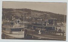 SUPER RPPC Lake Sunapee NH 1905 Steamer Ships Wenonah & Armenia White Real Photo