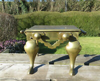 Antique Edwardian Brass Footman with Handles and Faux Drawer Knobs - Small Table