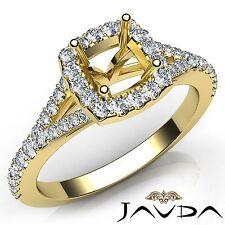Diamond Engagement 14k Yellow Gold Halo Prong Set Cushion Semi Mount Ring 0.5Ct