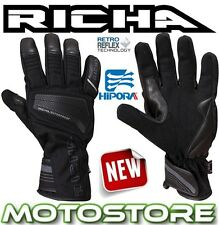 RICHA CAVE THERMAL WATERPROOF BLACK LEATHER TEXTILE MOTORCYCLE MOTORBIKE GLOVES