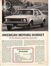 1970 AMC HORNET 232/145 HP ~ ORIGINAL 4-PAGE ROAD TEST / ARTICLE / AD