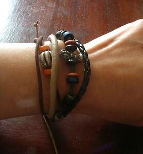 Bracelet Ethnic Mala Rosary Beads Wood Leather Buddha Zen Tibet Nepal