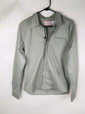 Giro Sport Design Cotton Blend Gray Green Button Up Zipper Shirt Men's Medium