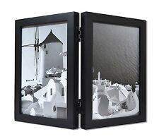 Wood Folding Vertical Photo Frames for Double 5x7 Photos with Real Glass, Black