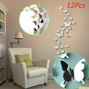 Wall Stickers Mirror Butterfly Art Home Decal Decor Homer Room Removable Silver