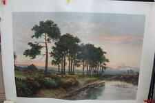 """Large Vintage Lithograph Print """"Harp Of Trees"""" By D. Herrin"""