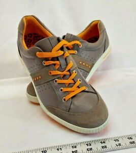 Ecco Mens Athletic Shoes Warm Grey/Tangerine Lace Up Golf Shoes M EUR 45