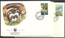 LIECHTENSTEIN/ WWF 1989 MiNr 967/70 auf 4 FDC