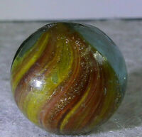 #11311m Vintage German Slightly Shrunken Handmade Onionskin Lutz Marble .66 In