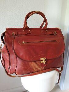 Riesen Reisetasche Travelbag Weekender Arzt Doktor Tasche Leder Vintage rostrot