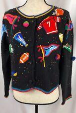 Vintage Michael Simon New York Football Beaded Sweater Cardigan Sports Fan Med.