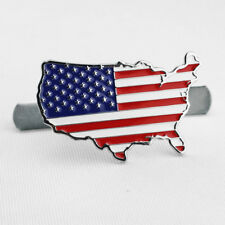 USA Old Glory Flag Map Car Front Grille W/ Mount Badge Emblem Accessories Parts